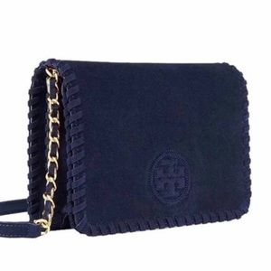 NWT Tory Burch Marion Navy Suede Cross Body Bag